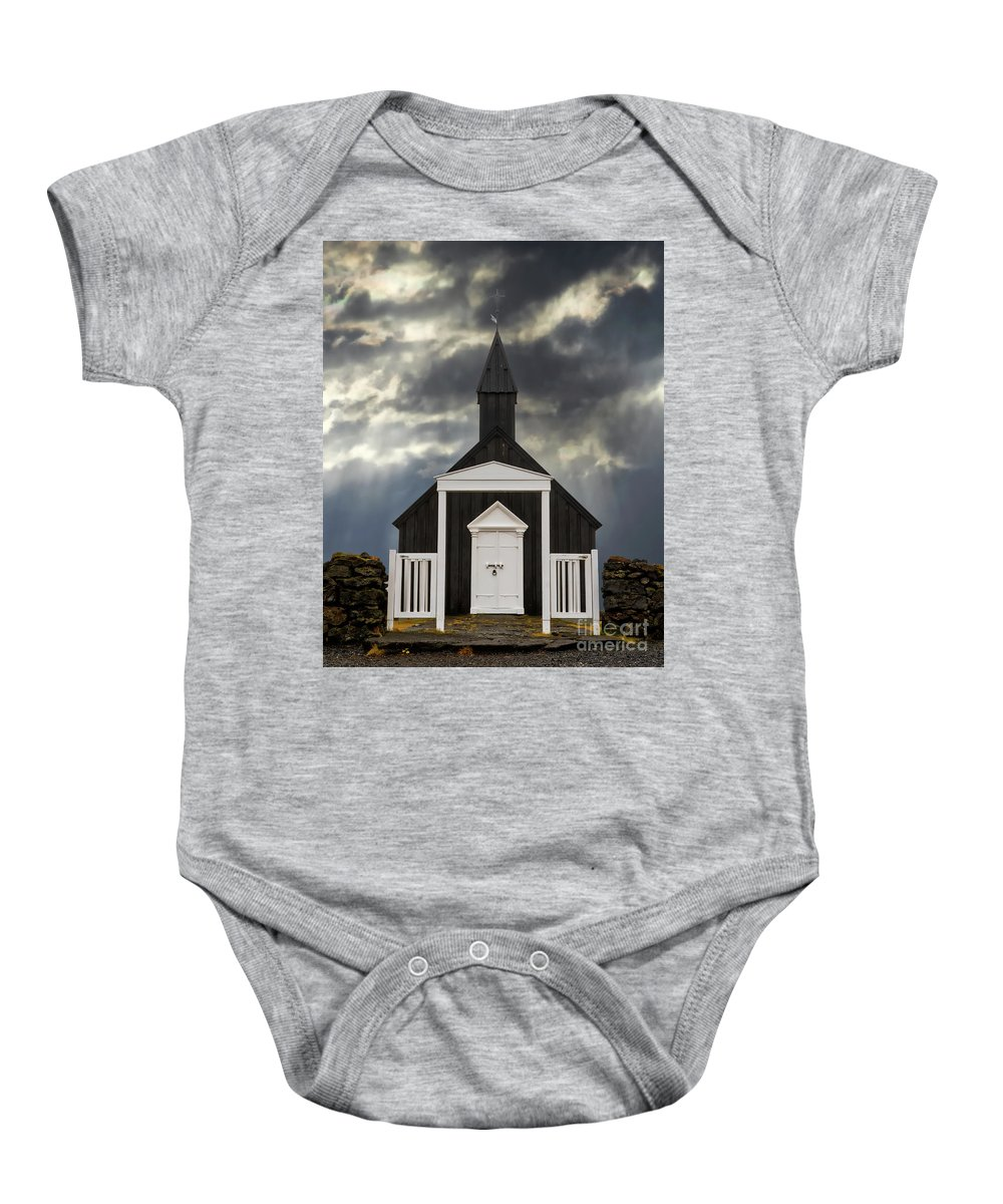 Architecture Baby Onesie featuring the photograph Stormy Day At The Black Church by Jerry Fornarotto