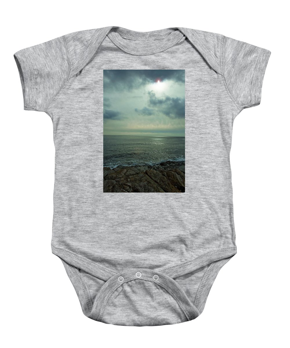 Ocean Baby Onesie featuring the photograph Stormy Day by Steven Natanson