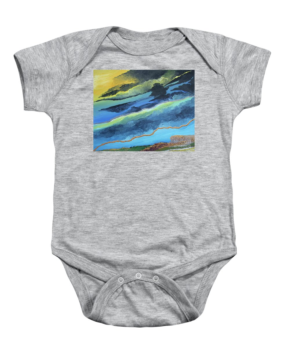 Earth Baby Onesie featuring the painting Stormy Skies by Pietra Castellani