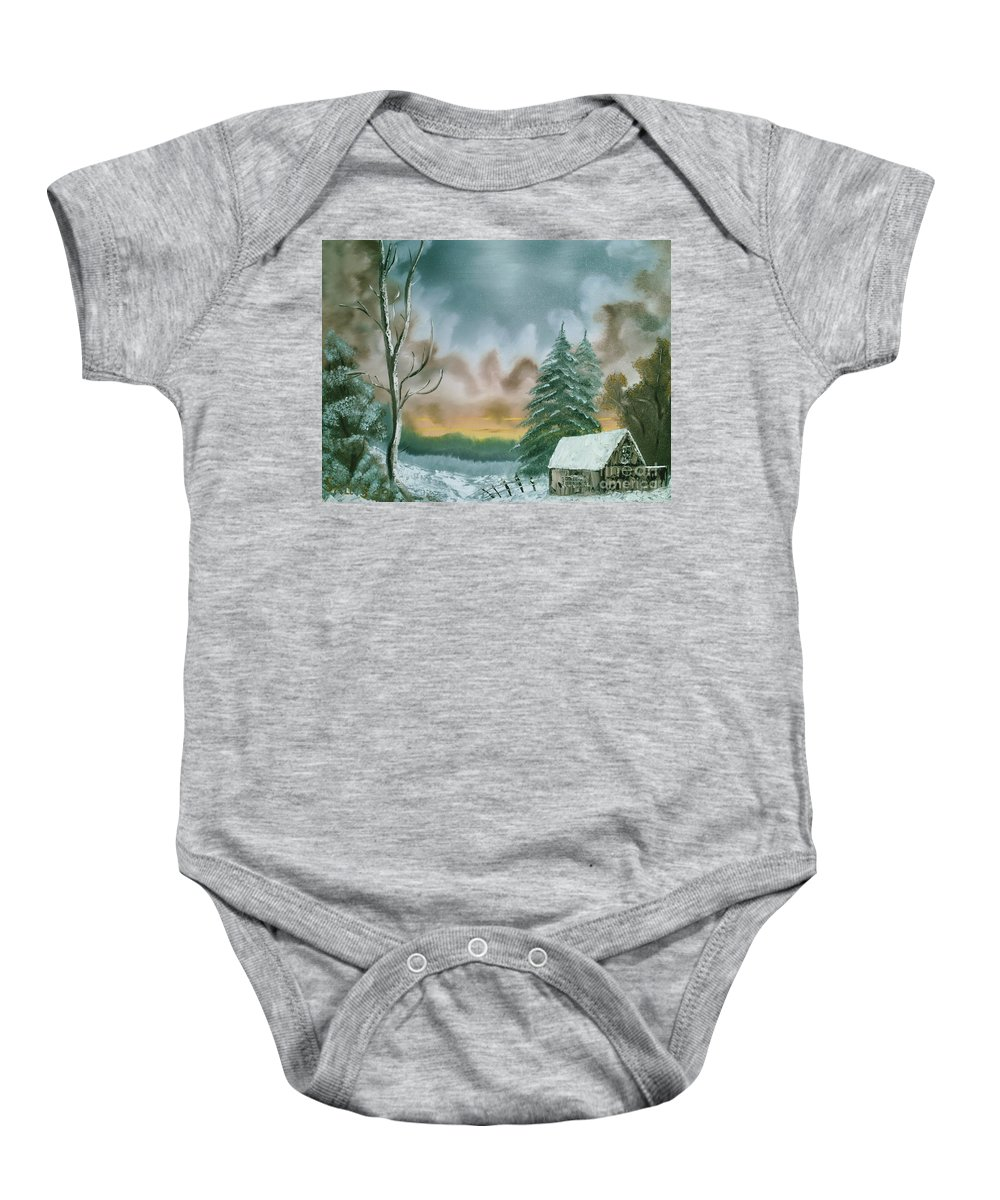 Winter Landscape Baby Onesie featuring the painting Stormy Sky by Jim Saltis