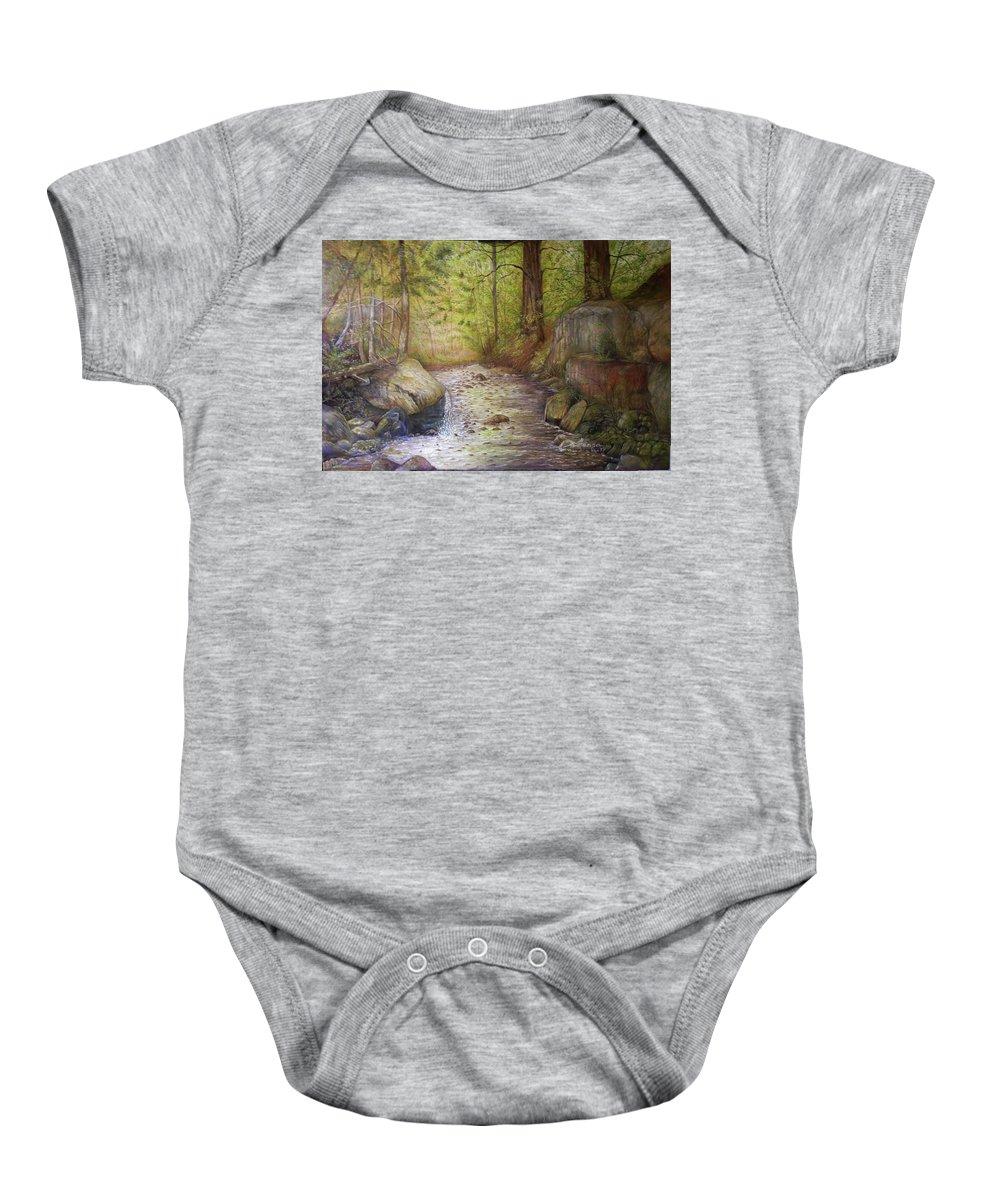 Trees Baby Onesie featuring the painting Stream by Arnildo Danga