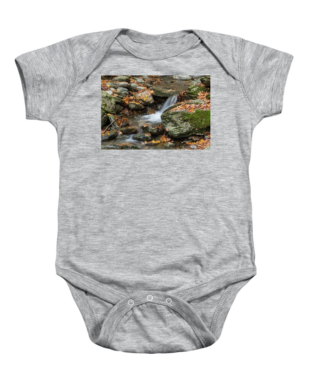 Smuggler's Notch Baby Onesie featuring the photograph Stream In The Notch by Karl Schroeder