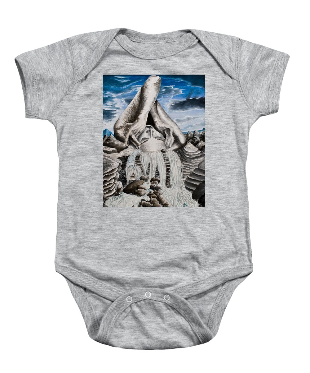 Landscape Portrait Woman Mountains Rocks Stream Water Baby Onesie featuring the painting Streams Of Thought by Pauline Sharp