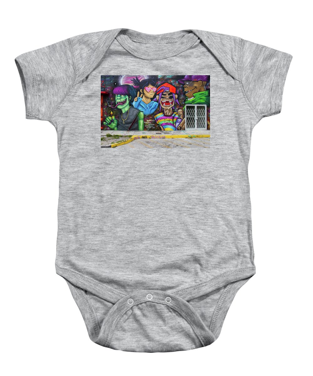 Graffiti Baby Onesie featuring the photograph Street Art Graffiti by Mike Burgquist