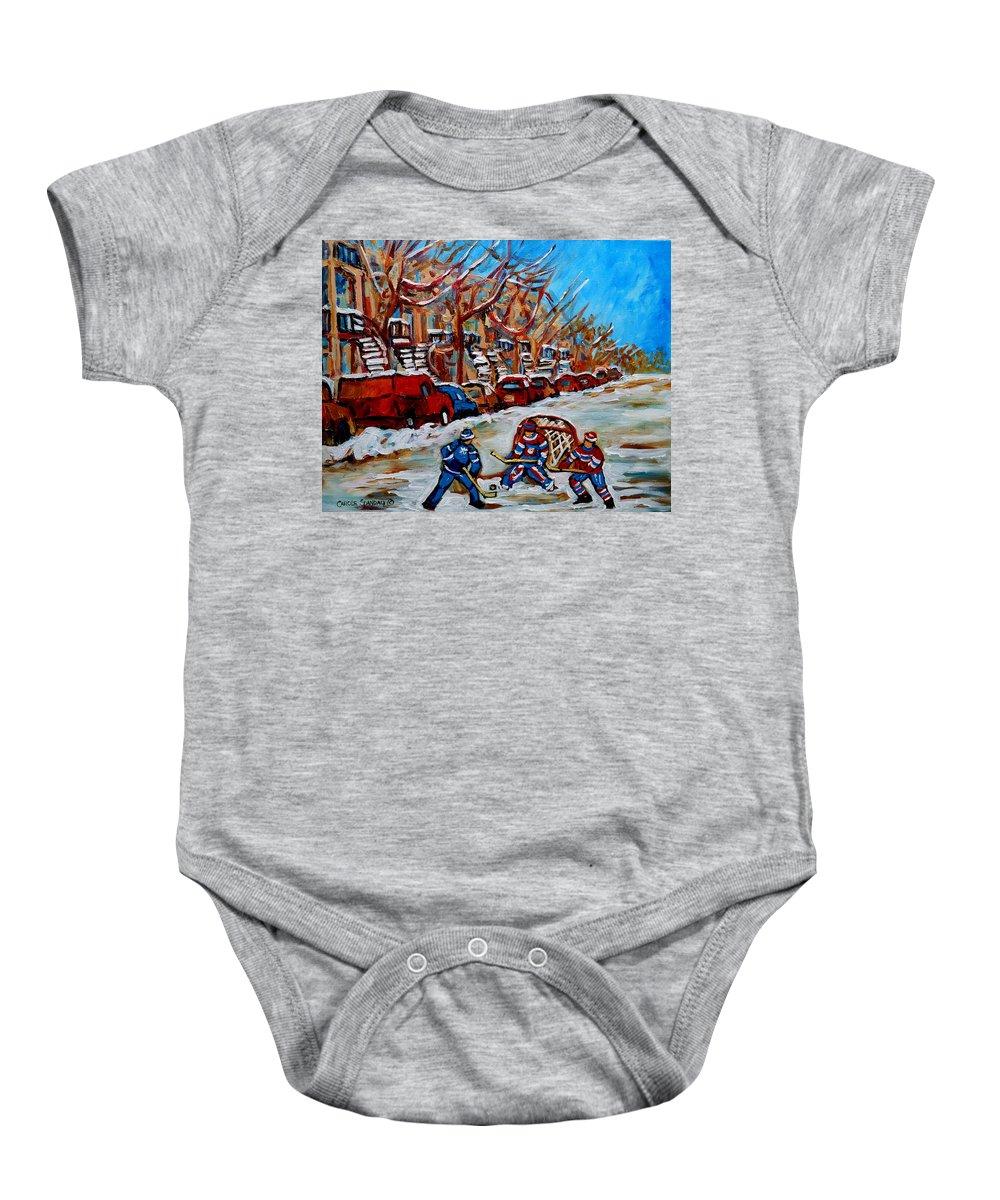 Street Hockey Hotel De Ville Baby Onesie featuring the painting Street Hockey Hotel De Ville by Carole Spandau