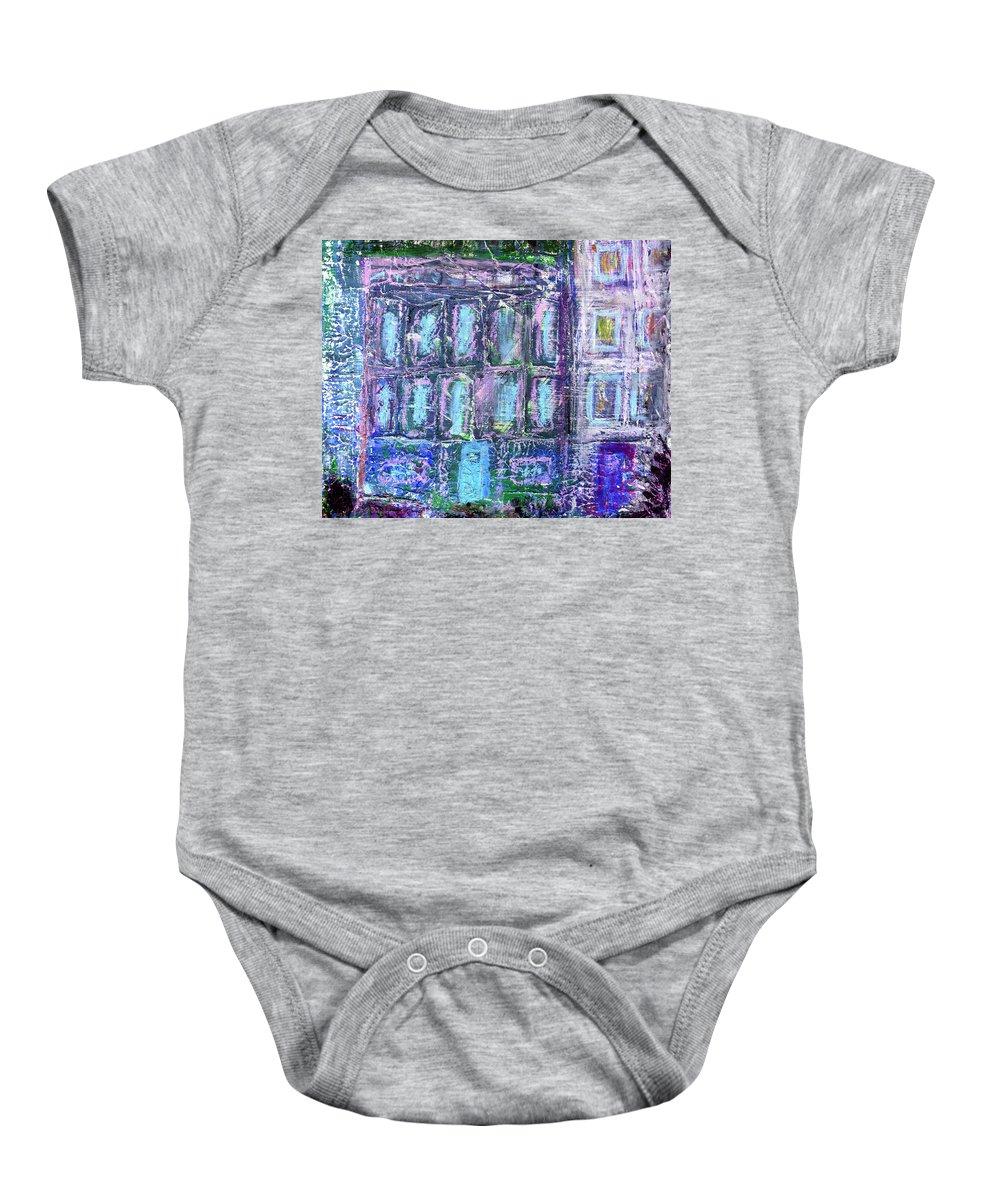 Street Baby Onesie featuring the painting Street Life by Wayne Potrafka