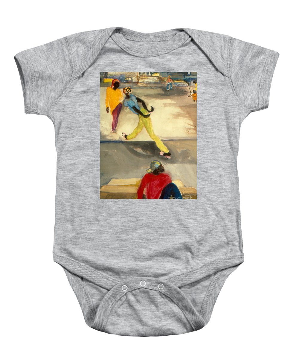 Watercolor Painting Baby Onesie featuring the painting Street Scene by Daun Soden-Greene