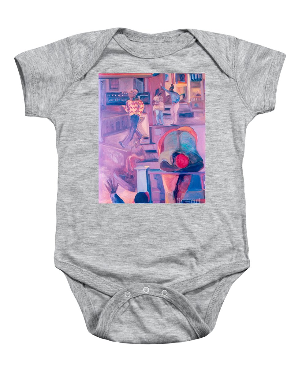 Oil Painting Baby Onesie featuring the painting Street Scenes by Daun Soden-Greene