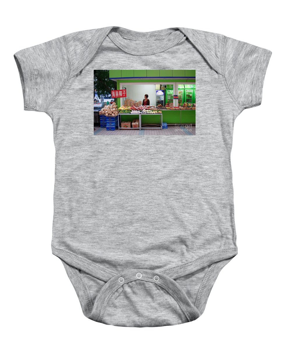 Stand Baby Onesie featuring the photograph Street Vendor Beijing by Thomas Marchessault
