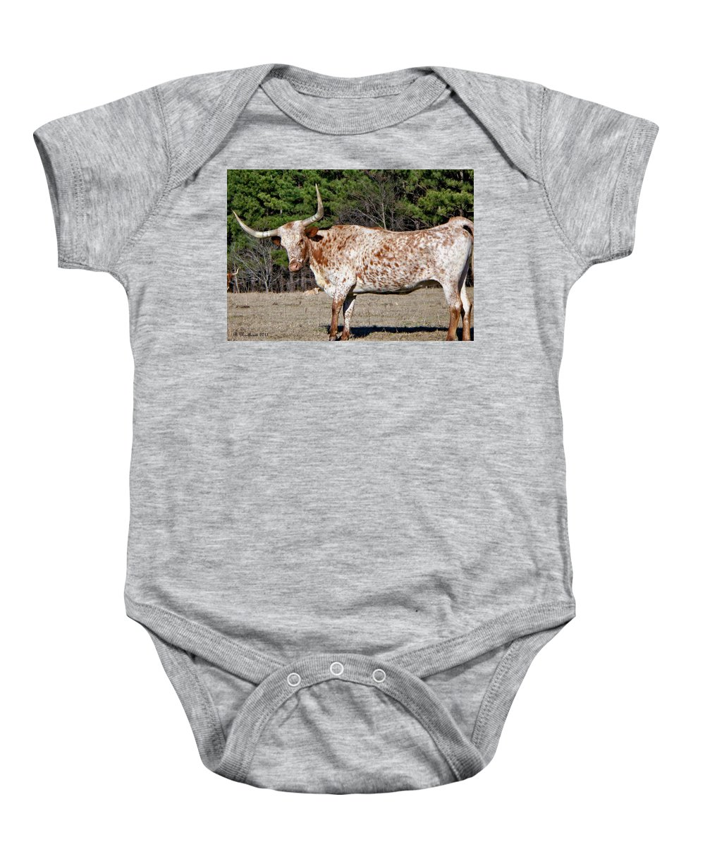 Animal Baby Onesie featuring the photograph Strike A Pose - Longhorn Style by Betty Northcutt