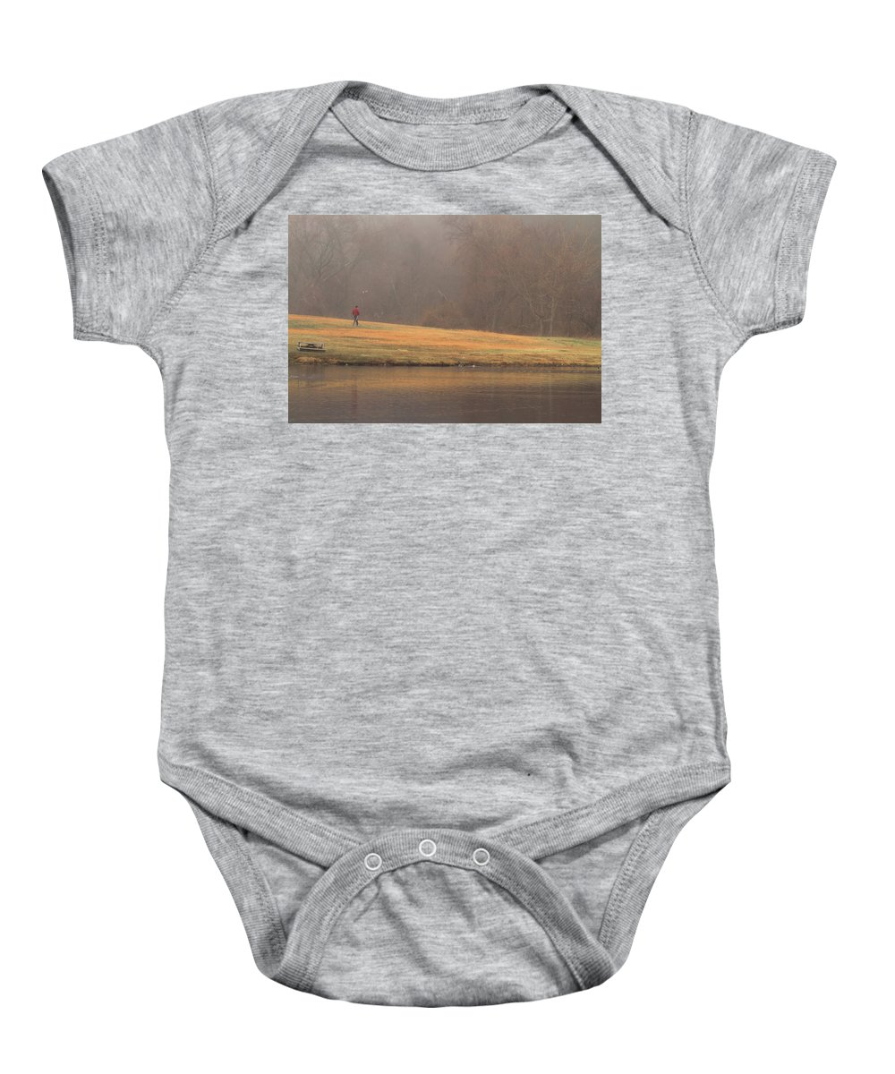 Fog Baby Onesie featuring the photograph Strolling Thru The Park by Karol Livote