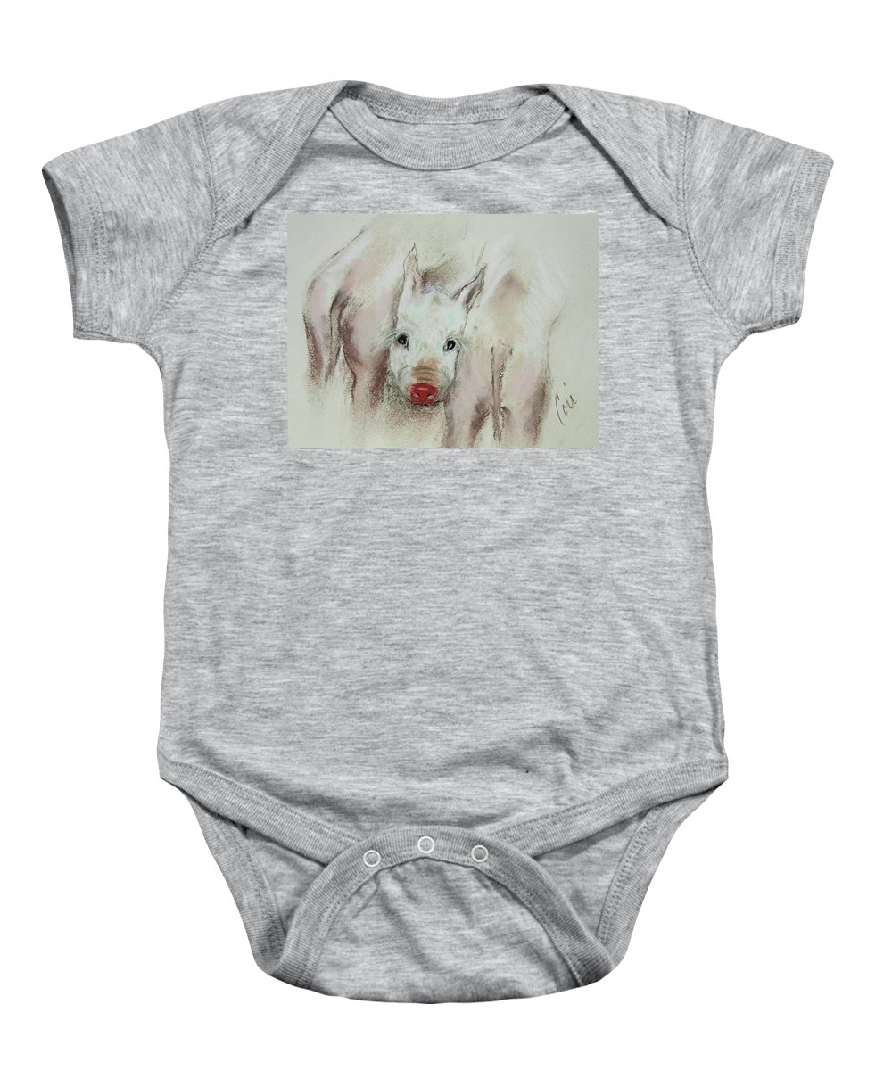 Animal Baby Onesie featuring the drawing Stuck In The Middle by Cori Solomon