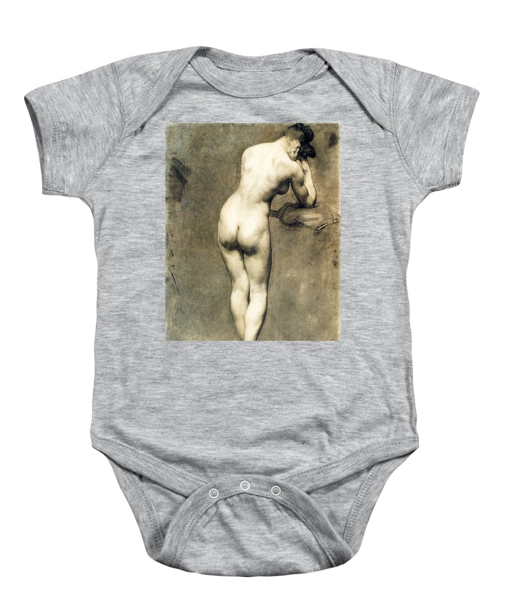 Eugene Delacroix Baby Onesie featuring the drawing Study For Mademoiselle Rose by Eugene Delacroix