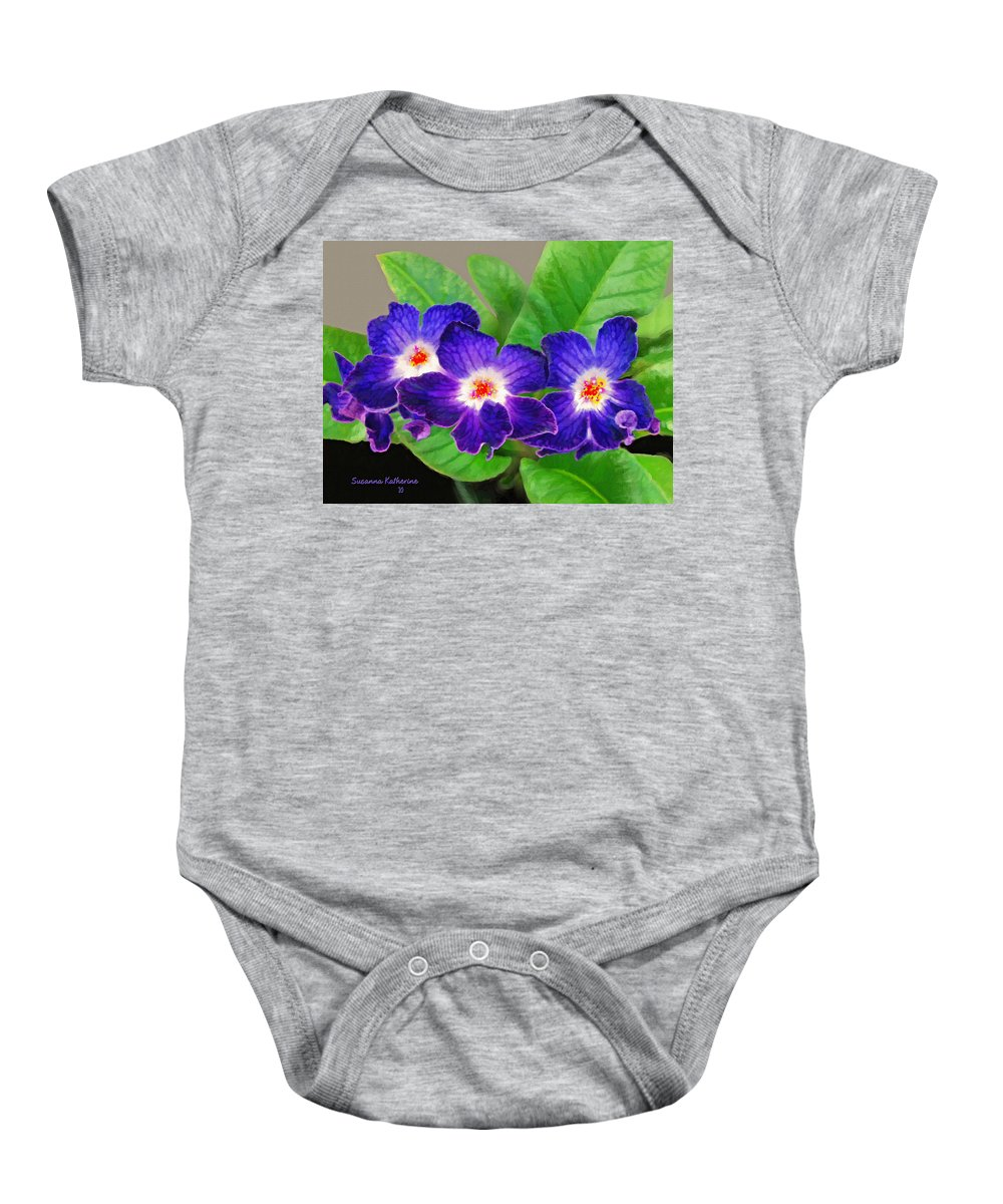 Flowers Baby Onesie featuring the painting Stunning Blue Flowers by Susanna Katherine