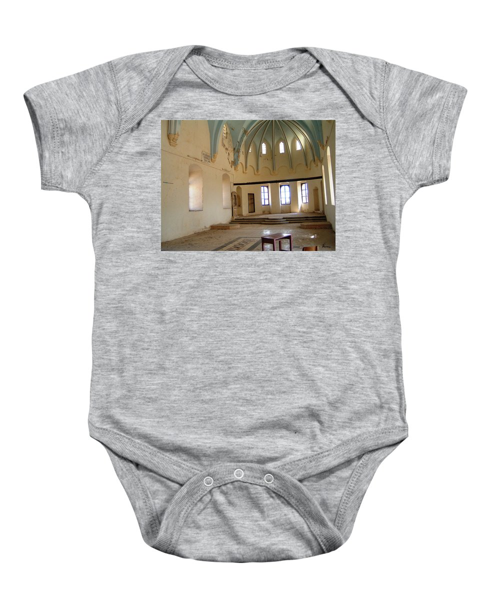 Ruins Turkey Turkish Temple Abandoned Church Pillars Vaulted Ceiling Old Baby Onesie featuring the photograph Such A Waste by Andrea Lawrence