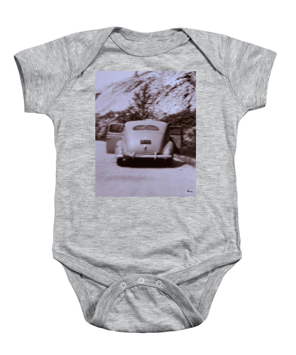 Old Cars Suicide Doors Antique Old Photo Car 1950 Automobile Classic Baby Onesie featuring the photograph Suicide Doors by Andrea Lawrence