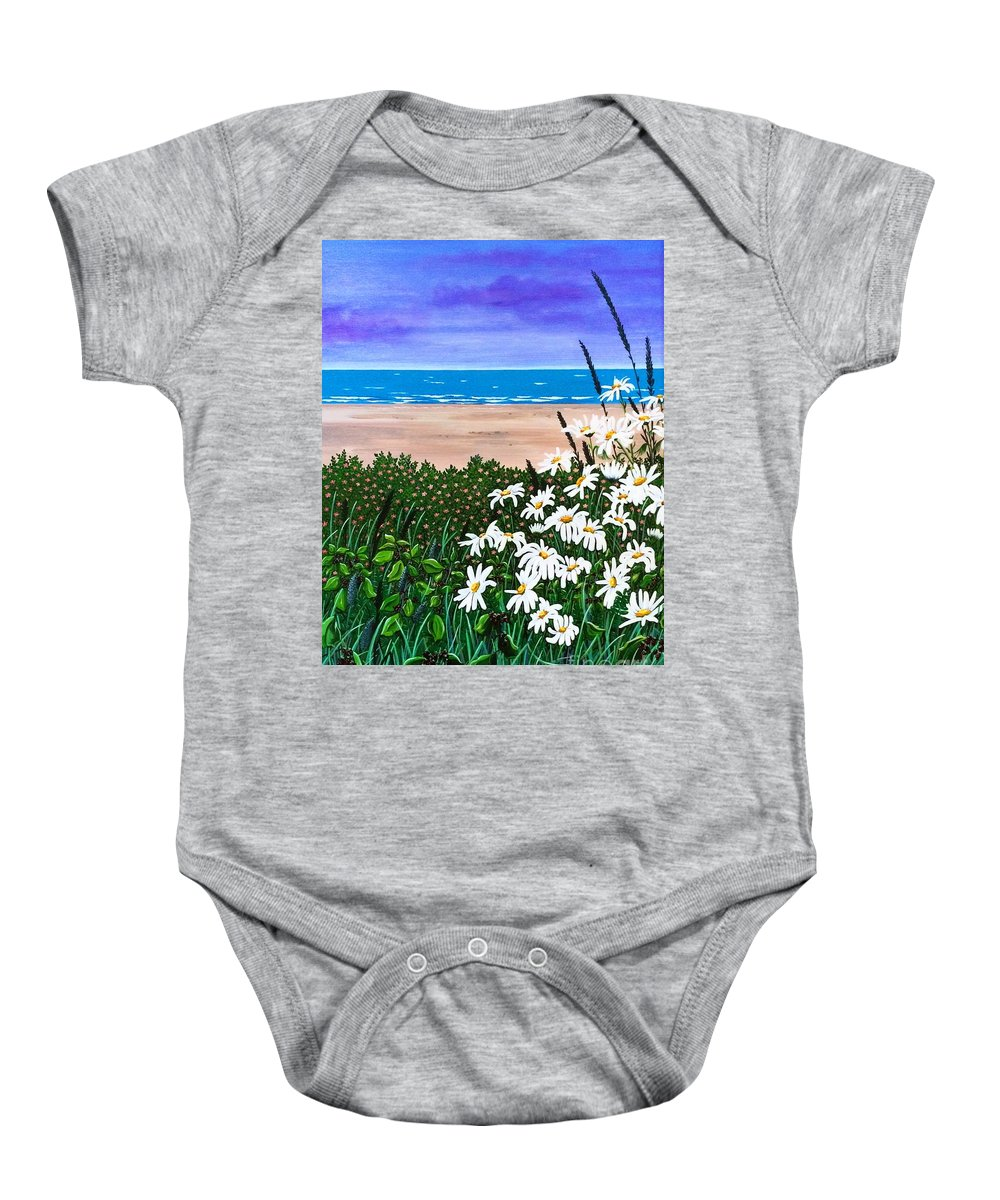 Paitning|ocean|atlantic|pacific|sea|waves|clouds|daisies|grass|floral|flowers| Baby Onesie featuring the painting Summer Breezes Make Me Feel Fine by Jennifer Lake