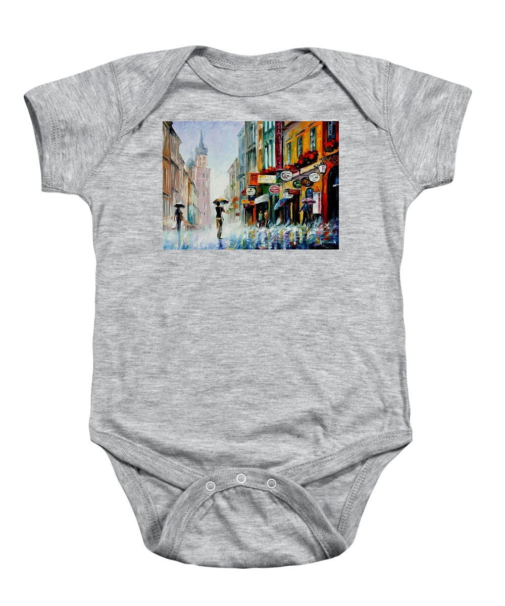 Afremov Baby Onesie featuring the painting Summer Downpour by Leonid Afremov