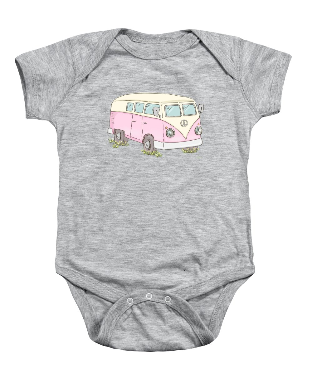 Summer Baby Onesie featuring the painting Summer Fun Van by Little Bunny Sunshine