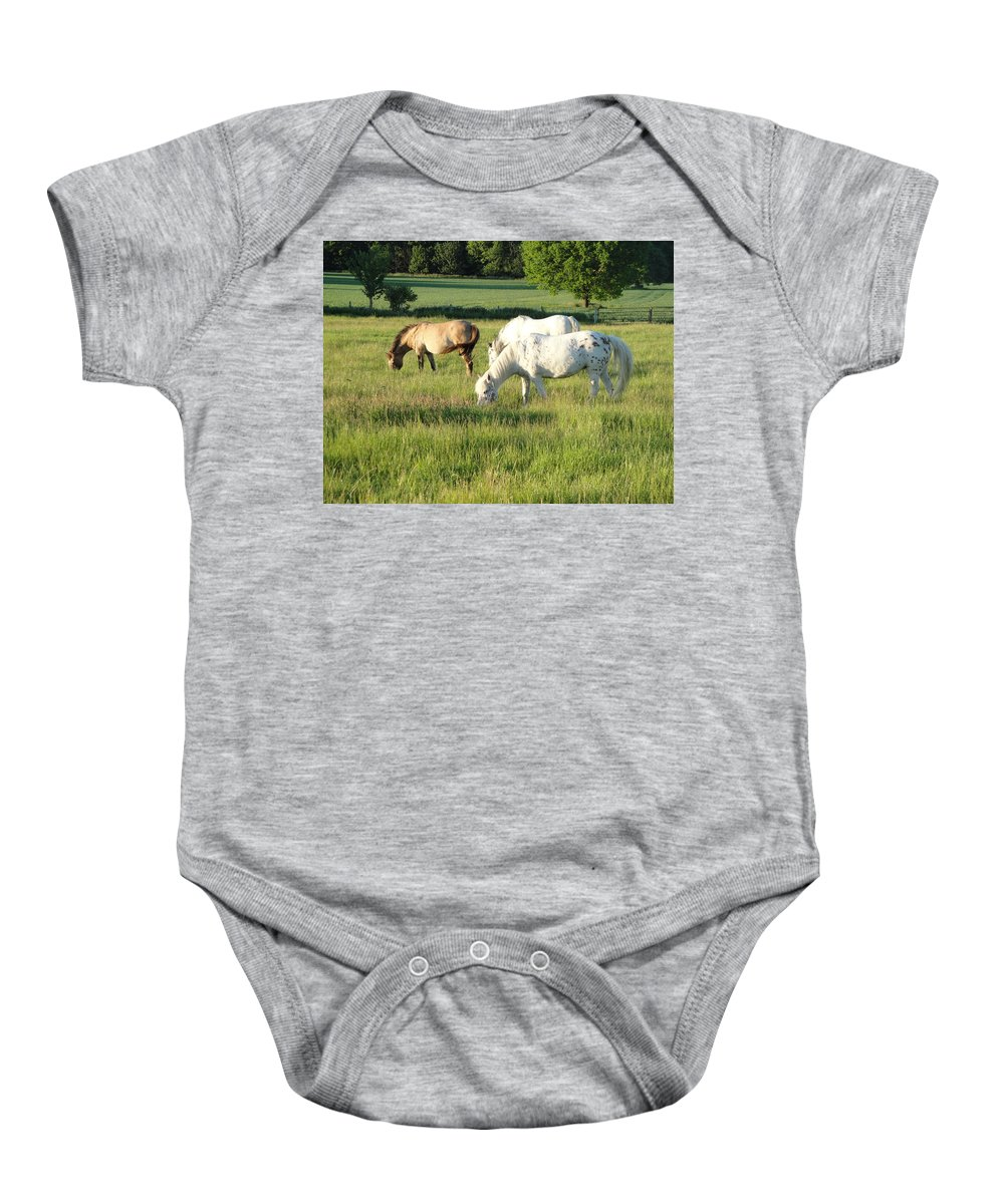 Pony Baby Onesie featuring the photograph Summer Grazing by Susan Baker
