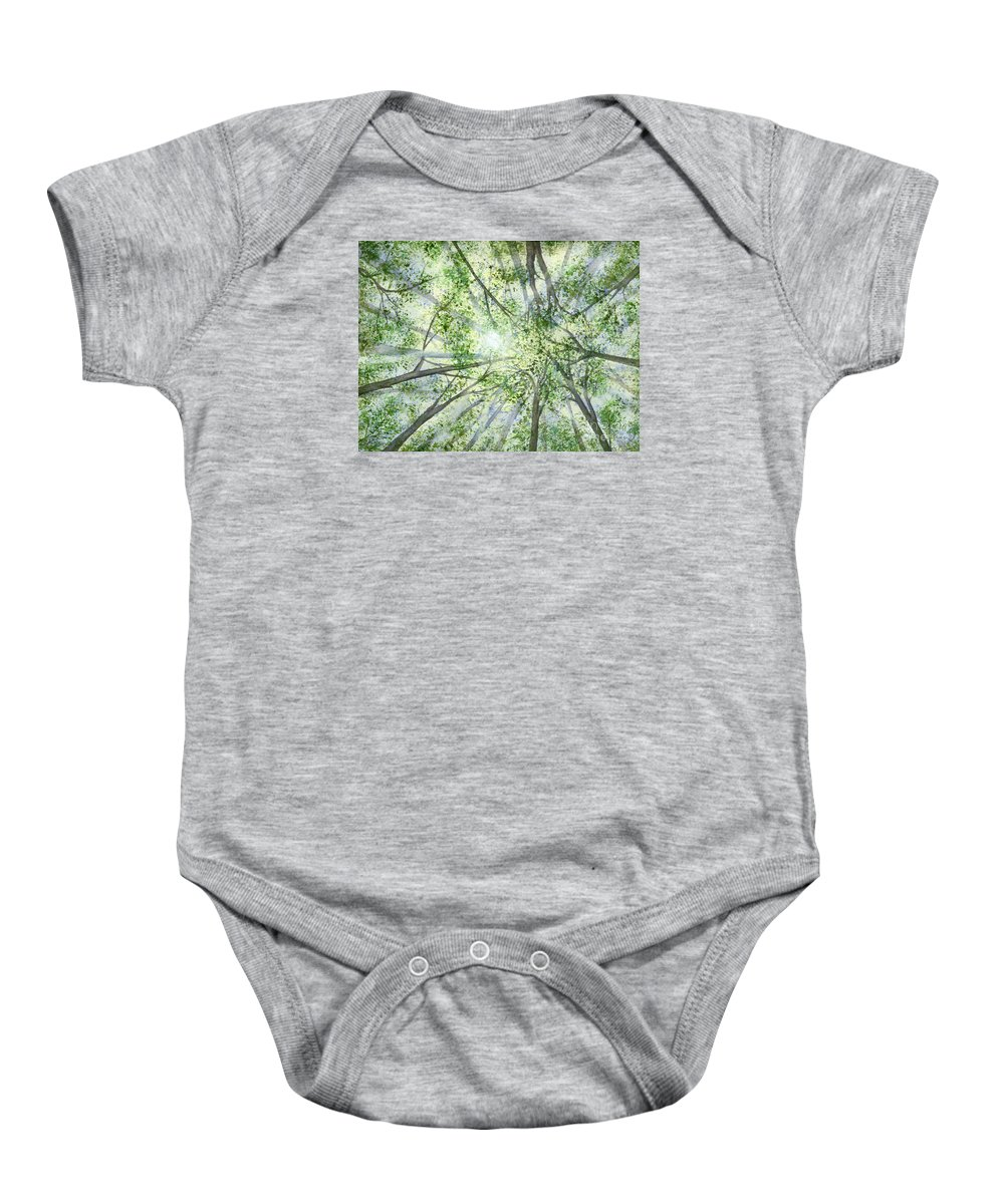 Trees Baby Onesie featuring the painting Summer Rays by Lynn Quinn