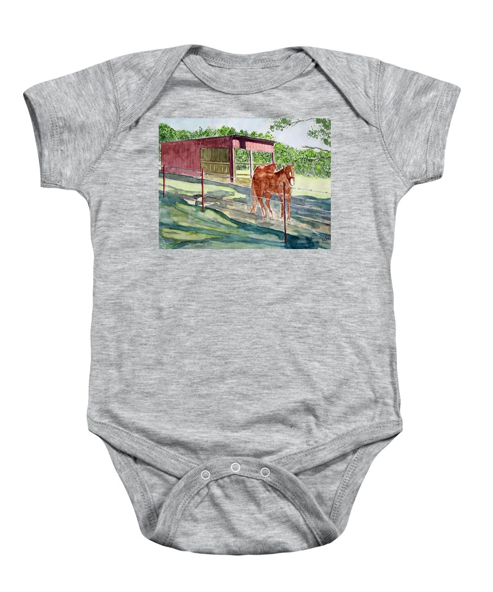 Horse Art Baby Onesie featuring the painting Summer Shade by Larry Wright