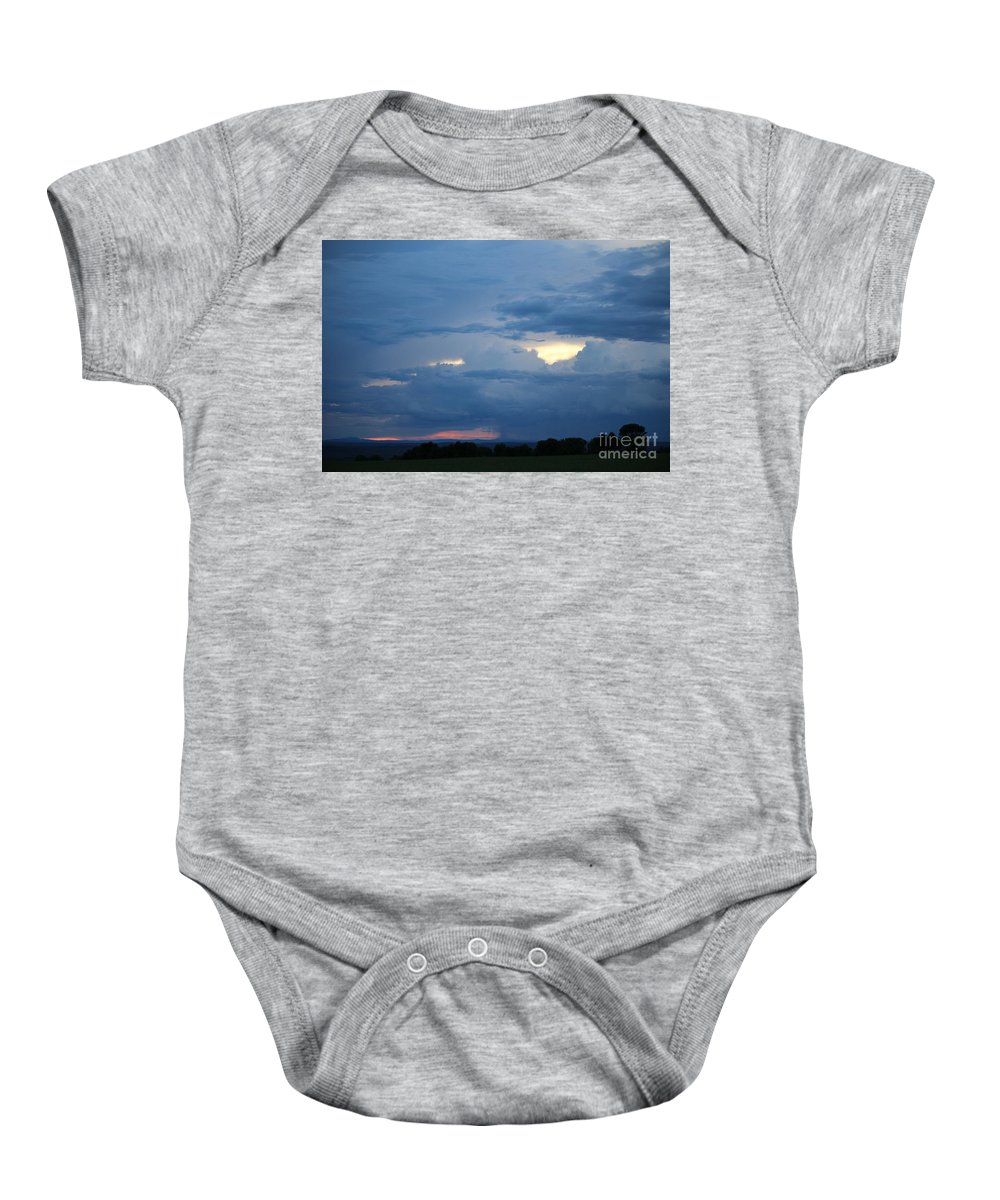 Storm Baby Onesie featuring the photograph Summer Storm Moving In Corinna Maine by Colleen Snow