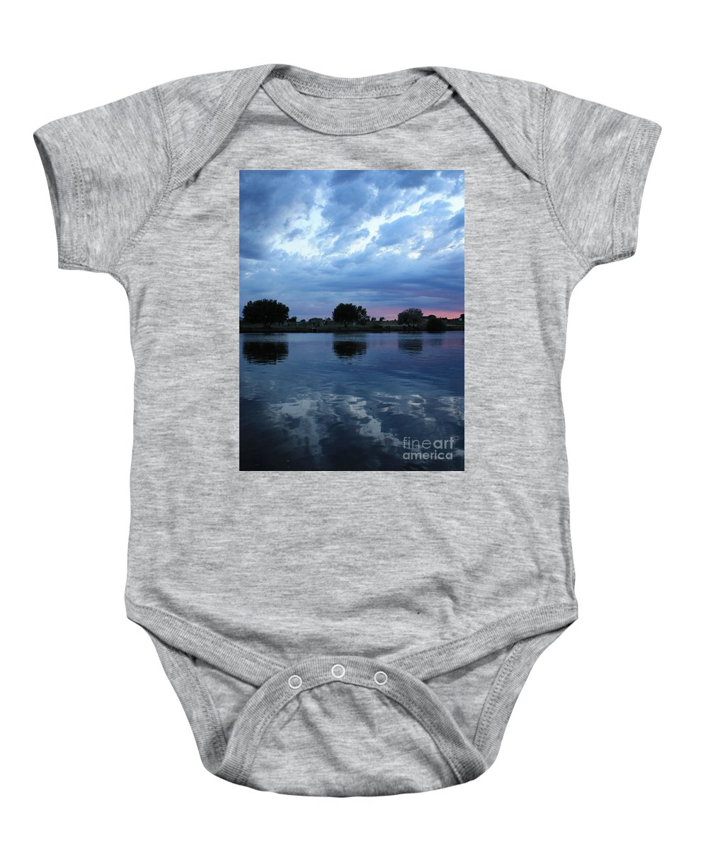 Blue Baby Onesie featuring the photograph Summer Sunset On Yakima River 5 by Carol Groenen