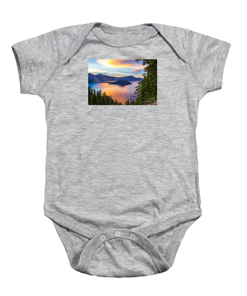 Christians Baby Onesie featuring the photograph Sunset At Crater Lake, Oregon by Tirza Roring