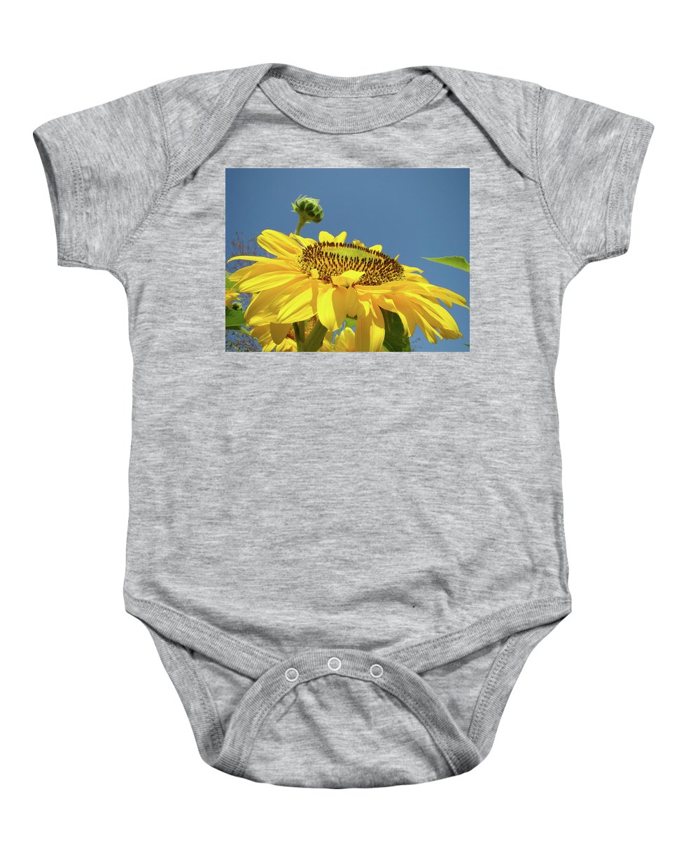 Sunflower Baby Onesie featuring the photograph Sun Flowers Summer Sunny Day 8 Blue Skies Giclee Art Prints Baslee Troutman by Baslee Troutman
