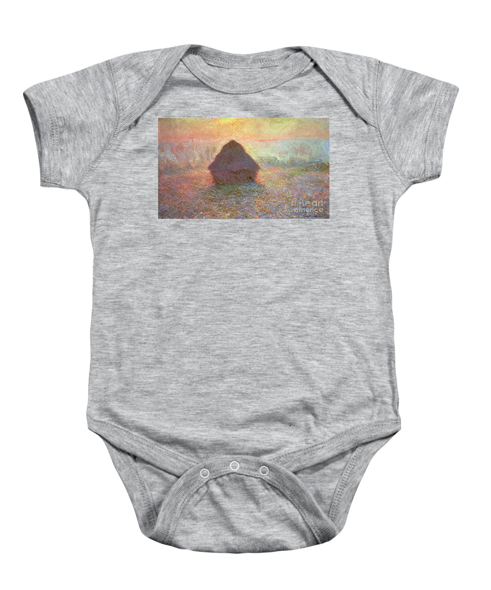 Grainstack Baby Onesie featuring the painting Sun In The Mist by Claude Monet