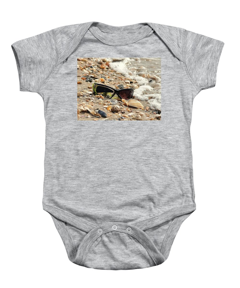 Beach Baby Onesie featuring the photograph Sun Shades And Sea Shells by Al Powell Photography USA