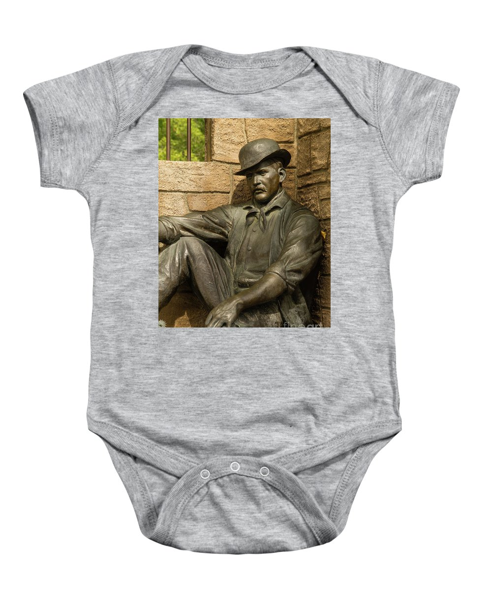 Wyoming Baby Onesie featuring the photograph Sundance Kid Statue 4 by Tracy Knauer