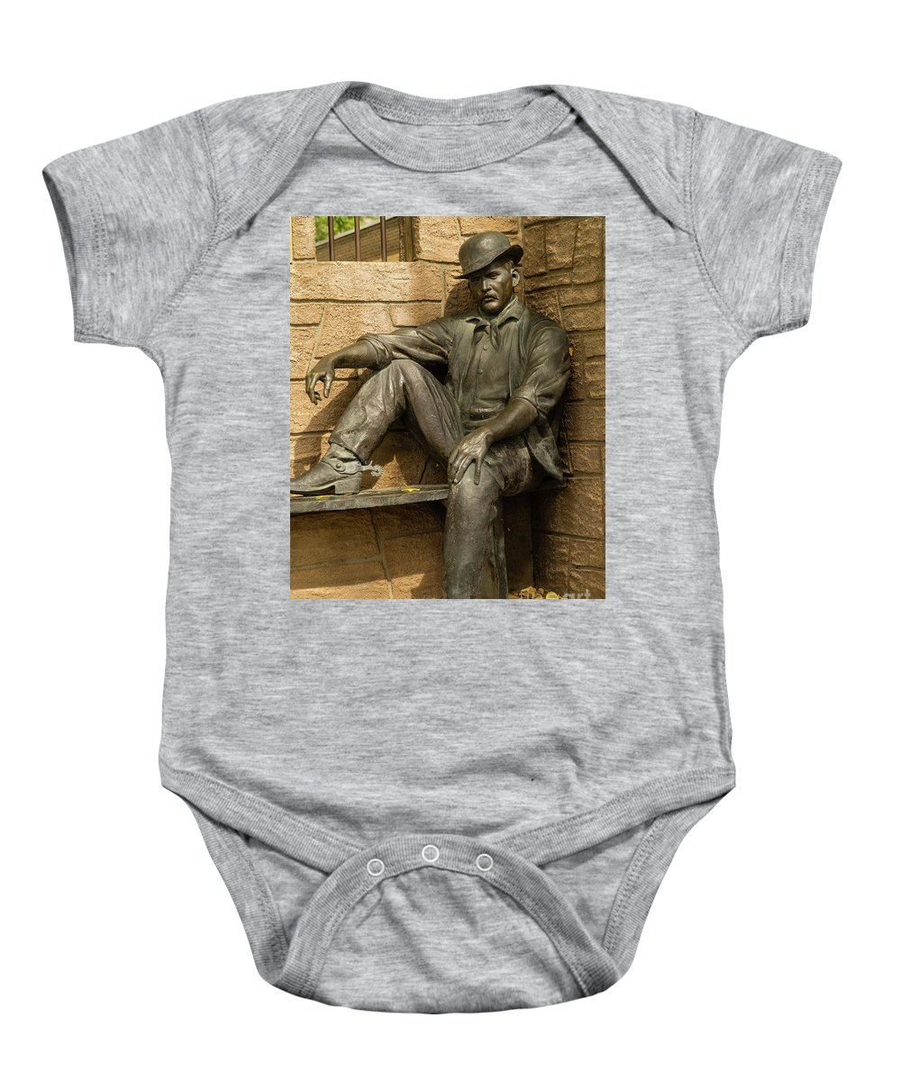 Wyoming Baby Onesie featuring the photograph Sundance Kid Statue 5 by Tracy Knauer