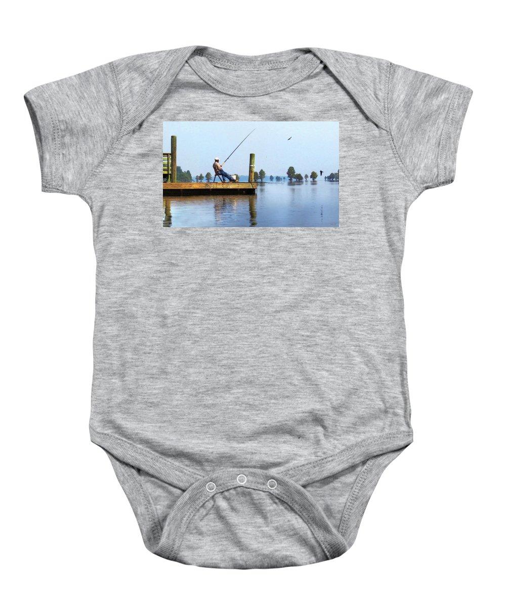 Fishing Baby Onesie featuring the digital art Sunday Fisherman by Deborah Smith