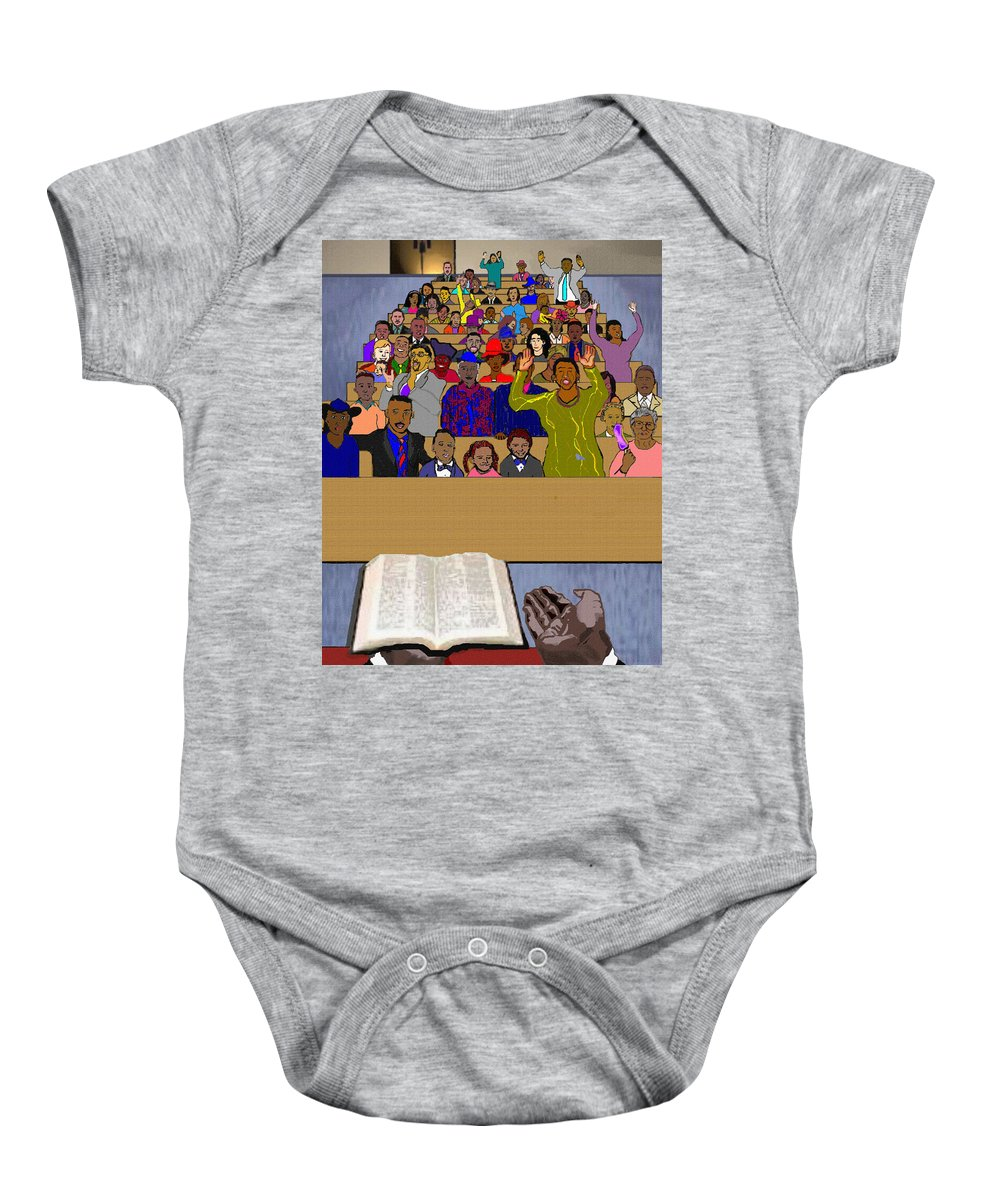 Sermon Baby Onesie featuring the painting Sunday Sermon by Pharris Art