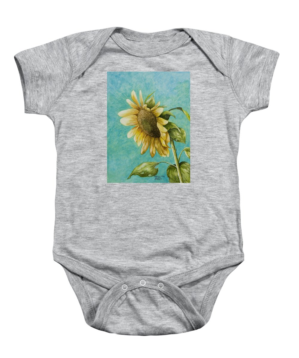 Yellow Sunflower Paintings Baby Onesie featuring the painting Sunflower Number One by Mary Ann King