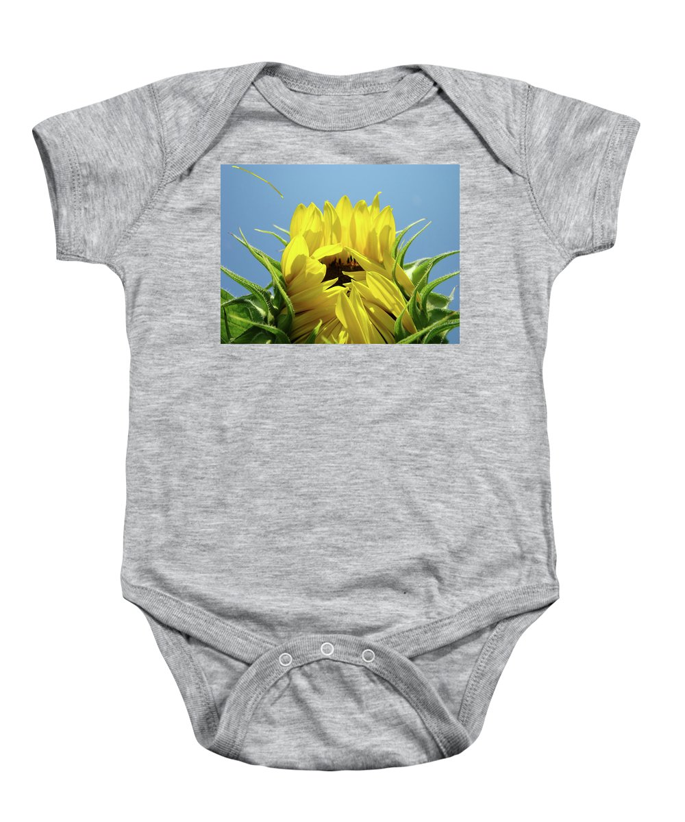 Sunflower Baby Onesie featuring the photograph Sunflower Opening Sunny Summer Day 1 Giclee Art Prints Baslee Troutman by Baslee Troutman