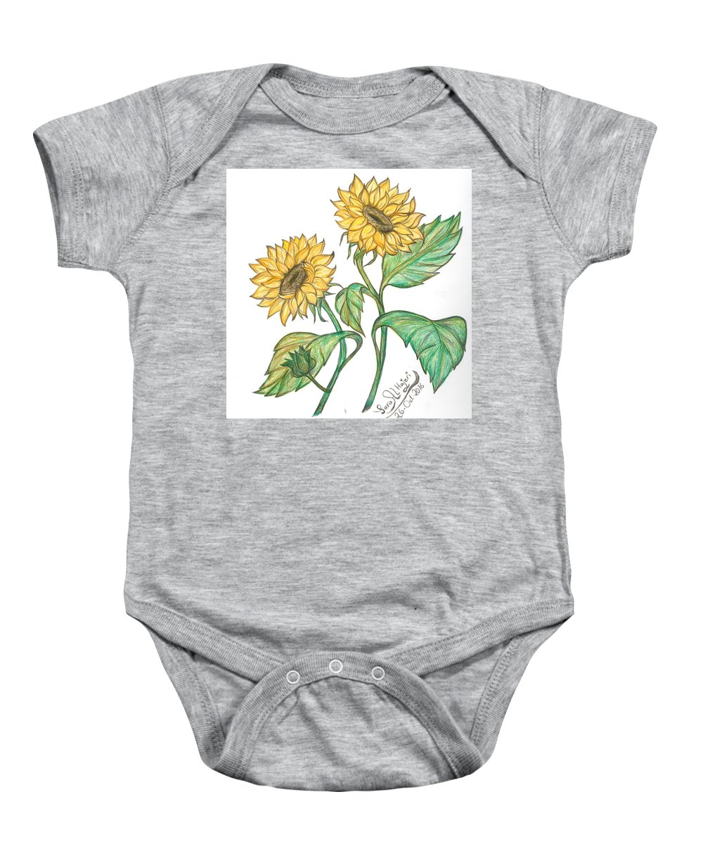Baby Onesie featuring the drawing Sunflower by Sara Alhajeri