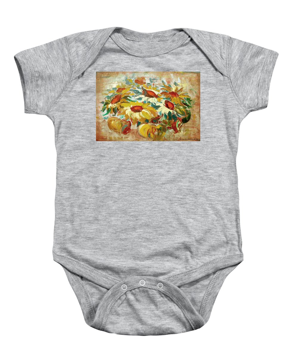 Sunflowers Baby Onesie featuring the painting Sunflowers 15 by Gina De Gorna