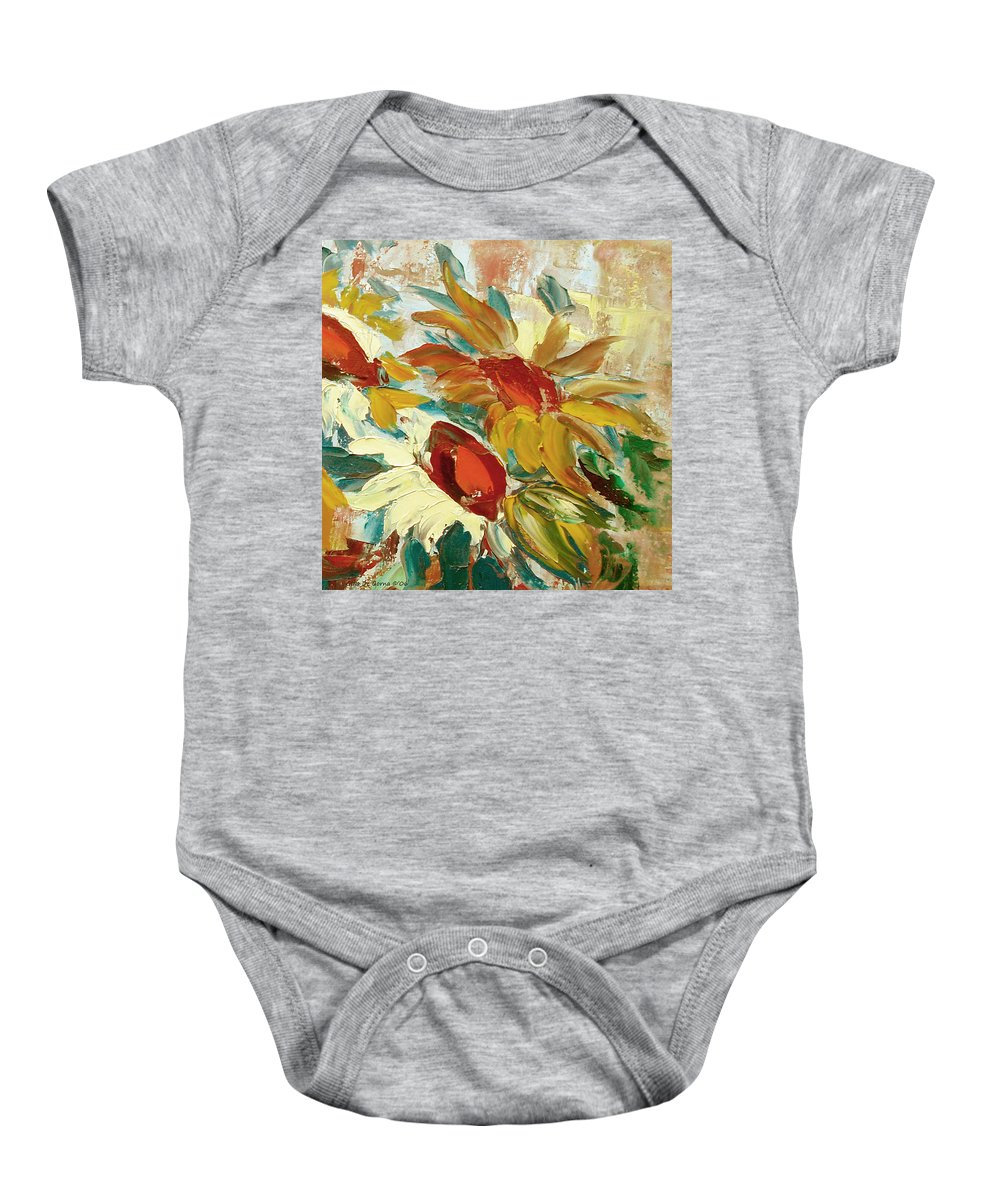 Sunflower Baby Onesie featuring the painting Sunflowers 16 by Gina De Gorna