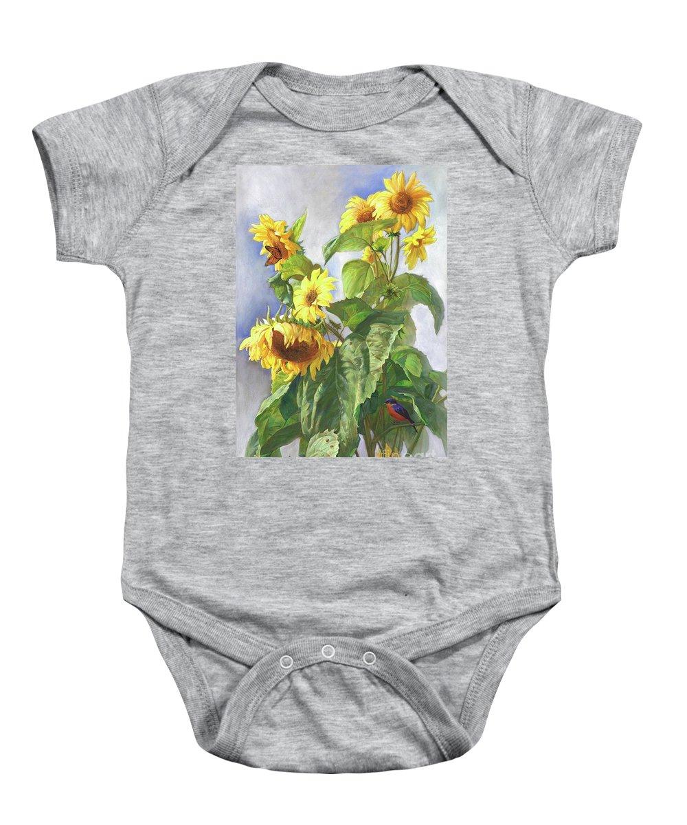 Sunflower Baby Onesie featuring the painting Sunflowers After the Rain by Svitozar Nenyuk