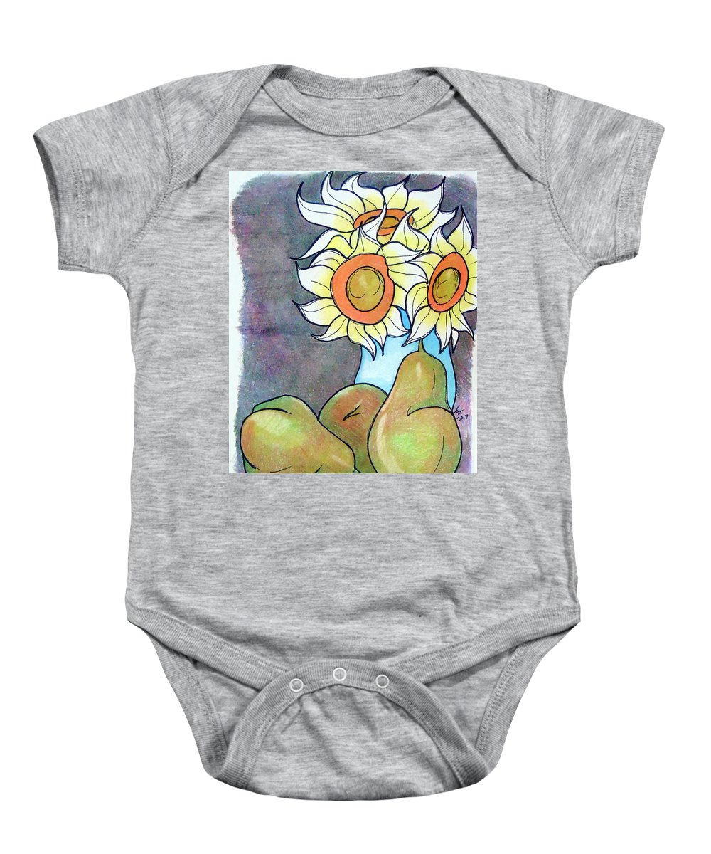 Sunflowers Baby Onesie featuring the drawing Sunflowers And Pears by Loretta Nash