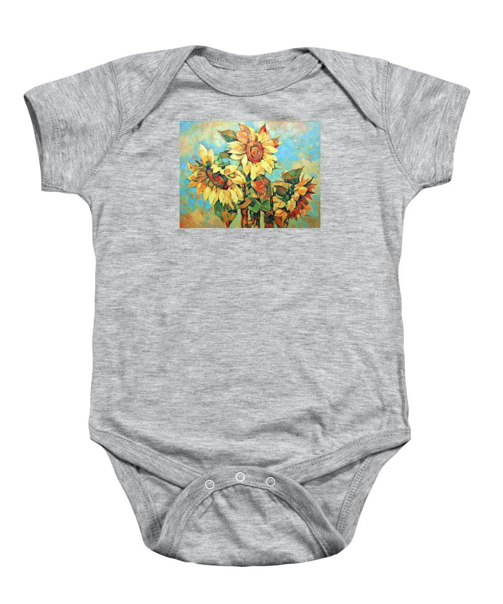 Sunflowers Baby Onesie featuring the painting Sunflowers by Iliyan Bozhanov