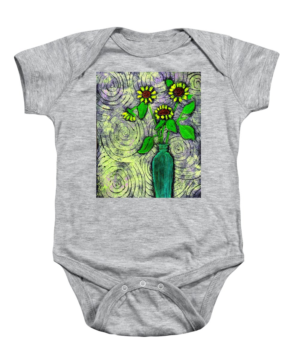 Sunflowers Baby Onesie featuring the painting Sunflowers In A Green Vase by Wayne Potrafka