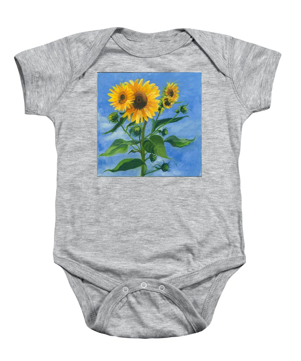 Flowers Baby Onesie featuring the painting Sunflowers On Bauer Farm by Paula Emery