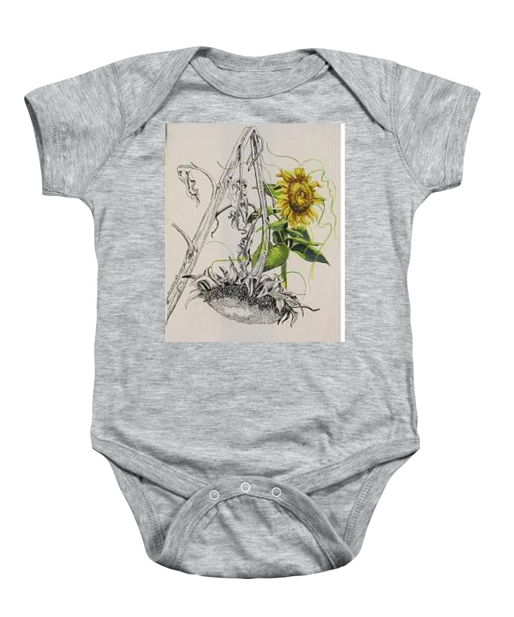 Large Sunflowers Featured Baby Onesie featuring the painting Sunflowers by Wanda Dansereau