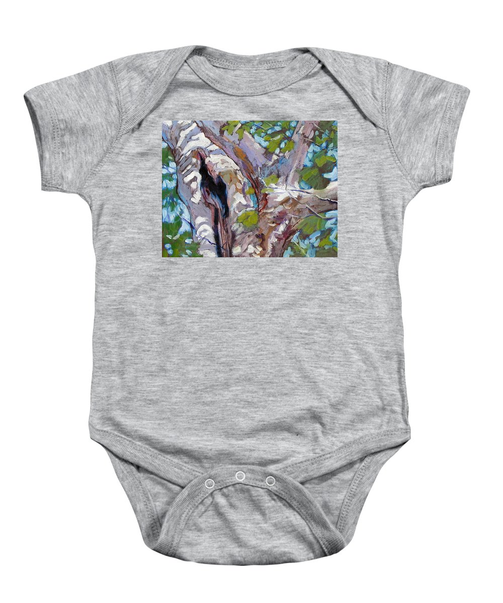 Tree Baby Onesie featuring the painting Sunlight On Sycamore by John Lautermilch