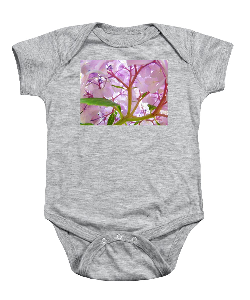 Hydrangea Baby Onesie featuring the photograph Sunlit Hydrangea Flowers Garden Art Prints Baslee Troutman by Baslee Troutman