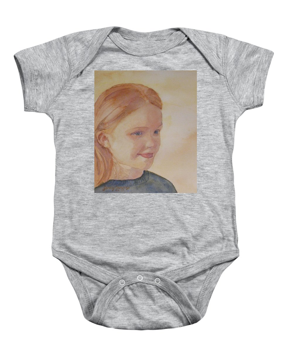Girl Baby Onesie featuring the painting Sunnie Birdie by Jenny Armitage